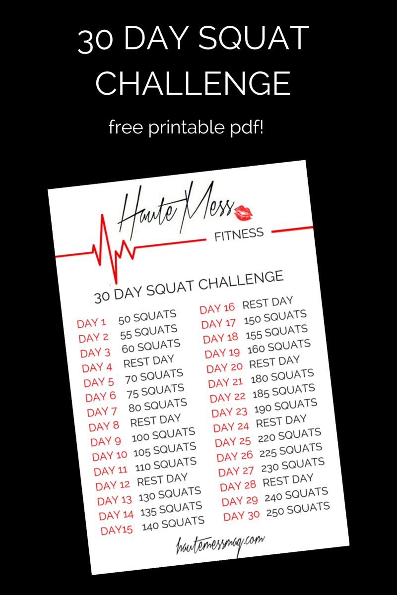 photo about 30 Day Squat Challenge Printable titled HauteMess Physical fitness- 30 Working day Squat Difficulty (+ Cost-free printable