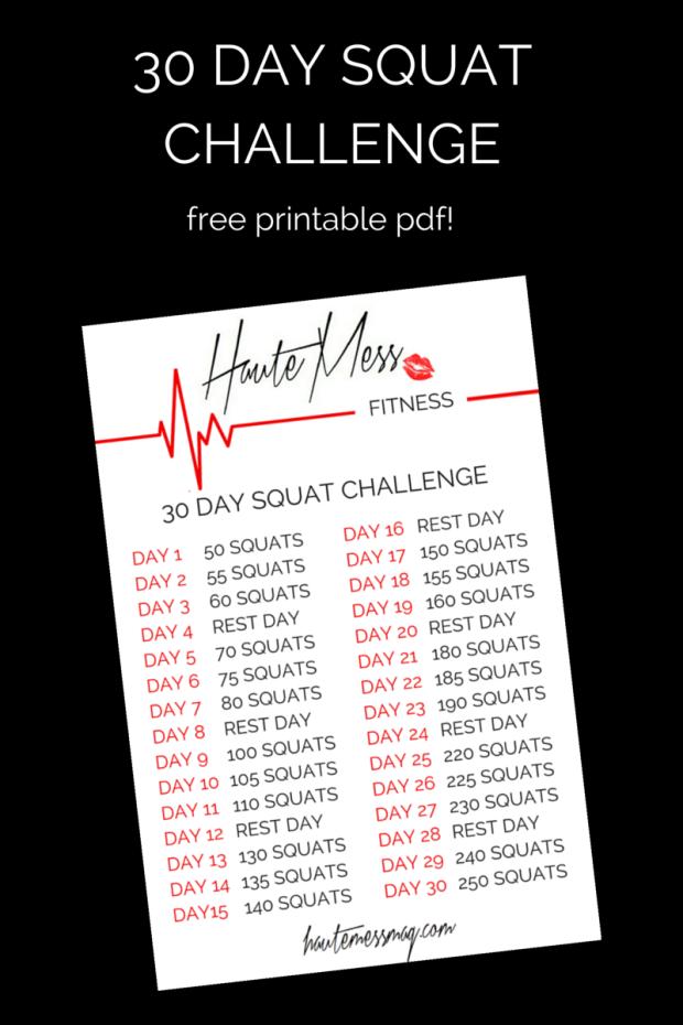 HauteMess Fitness- 30 Day Squat Challenge (+ FREE printable